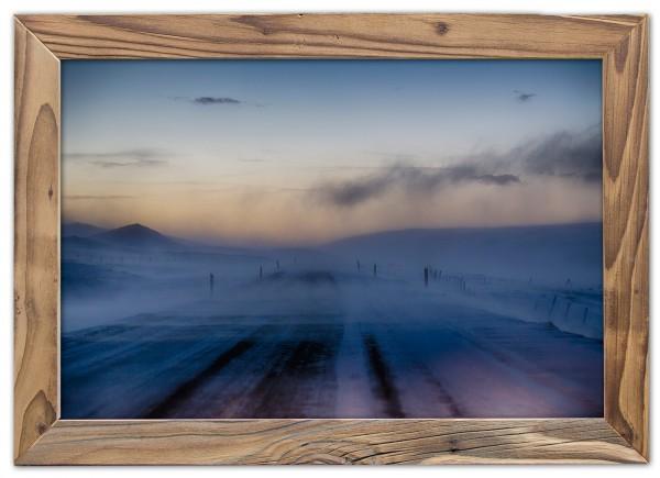 Arktischer Blizzard im Altholzrahmen