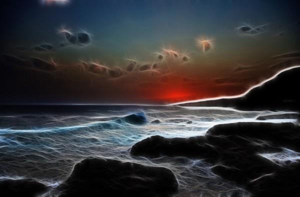Stilisierter Sonnenuntergang am Strand