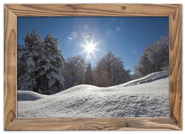 Buchenwald im Schnee im Altholzrahmen