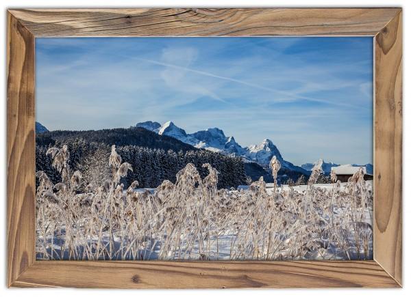 Alpspitze Zugspitze und Waxenstein im Winter im Altholzrahmen