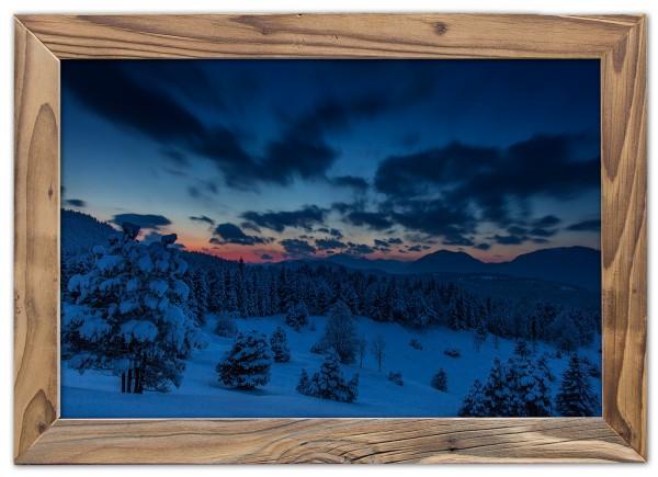 Abendstimmung am Kranzberg im Altholzrahmen